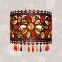 Vintage Drum Wall Lamp 2 Lights Metal Sconce Light with Colorful Crystal for Living Room