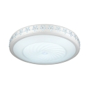 Contemporary White Light Fixture with Drum and Clear Crystal Acrylic LED Flush Light for Bedroom