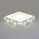 Square LED Ceiling Light with Clear Crystal Decoration Contemporary Acrylic Flush Light in White for Living Room