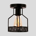 Black Metal Wire Semi Flush Light 1 Bulb Rustic Ceiling Light for Hallway