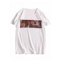 Summer Cool Street Fashion Portrait Pattern Round Neck Loose Fit T-Shirt