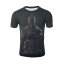 Hot Fashion Game Figure Cool 3D Printed Short Sleeve Round Neck Black T-Shirt