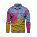 Unique Cool Colorful Splash Ink Print Double Pocket Front Button Front Blue Denim Jacket for Men