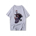 Funny Comic Character Printed Round Neck Short Sleeve T-Shirt