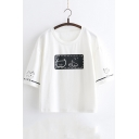Lovely Fish Cat Letter Pattern Round Neck Short Sleeves Summer Loose Casual T-shirt