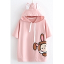 Cartoon Rabbit Pattern Short Sleeve Drawstring Hood Relaxed T-Shir