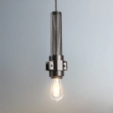 Black Cylinder Hanging Lamp 1 Light Vintage Overhead Light with Adjustable Cord and Metal Mesh for Living Room