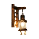 Lantern Shape Sconce Light Living Room Single Light Antique Hanging Wall Sconce in Rust