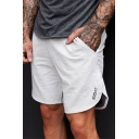 Guys Simple Letter Pattern Zip-Pockets Elastic Waist Dry-Fit Loose Cotton Running Athletic Shorts