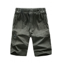 Simple Basic Plain Multi-Pockets Elastic Waist Men's Cotton Straight Casual Shorts