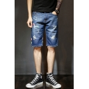Guys Fashion Pattern Ripped Detail Straight Fit Blue Denim Shorts