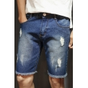 Mens Summer Vintage Stylish Torn Ripped Frayed Hem Straight Fit Denim Shorts