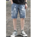 Mens Summer Street Fashion Destroyed Ripped Relaxed Fit Casual Light Blue Denim Shorts