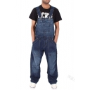 Men's New Stylish Plain Multi-Pockets Washed-Denim Loose Fit Overall Jeans