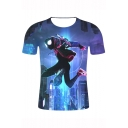 Hot Popula 3D Figure Print Blue Basic T-Shirt