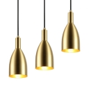 Brass Bell Pendant Lighting with Hanging Cord 1 Light Vintage Metal Hanging Lamp