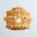 Beige/Black Globe Ceiling Pendant 1 Light Pastoral Woven Hanging Light for Coffee Shop
