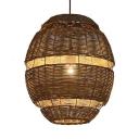 Oval Patio Pendant Lighting 1 Light Handmade Rattan Drop Light with 47