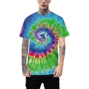 New Stylish Colorful Tie-Dye Whirlpool Pattern Short Sleeve Unisex Loose T-Shirt
