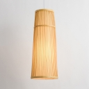 Slim Cone Pendant Lighting Restaurant Height Adjustable Bamboo Suspended Light with 59