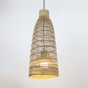 Bamboo Woven Farmhouse Pendant Light Rustic One Bulb Suspended Light with Adjustable Chain