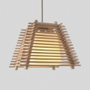 Asian Style Tapered Suspension Light for Restaurant Wood 1 Light Pendant Lamp in Beige, 7.5