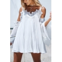 Fashion Sexy Lace Trim Cold Shoulder White Mini Pleated A-Line Dress