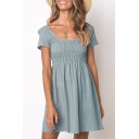 Women's Fashion Solid Pleated Design Short Sleeve Square Neck Mini A-Line Dress