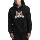 Cartoon Cute Cat Pattern Long Sleeve Unisex Loose Fit Pullover Hoodie
