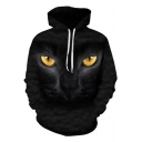 New Trendy 3D Cat Figure Pattern Long Sleeve Relaxed Fit Drawstring Hoodie