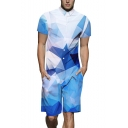 Summer Stylish Blue and White Ombre Geometric Printed Short Sleeve Street Fashion Rompers