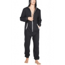 Mens New Stylish Long Sleeve Hooded Zip Up One Piece Sleepwear Lounge Jumpsuits