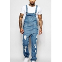 Mens New Stylish Distressed Ripped Vintage Light Blue Denim Bib Overalls