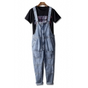 Hip Hop Street Fashion Vintage Blue Straight Fit Unisex Casual Denim Jeans Suspender Overalls