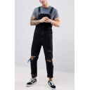 Guys Vintage Hip Hop Fashion Ripped Detail Denim Jeans Bib Overalls
