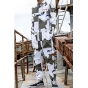 Hot Fashion Camo Printed Long Sleeve Lapel Collar White Workwear Coveralls for Men