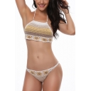 Vintage Floral Colorblocked Knit Halter Neck Hollow Out Bikini