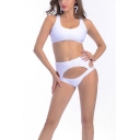 Summer's New Arrival Hollow Out White Comfort Bikini Swimwear