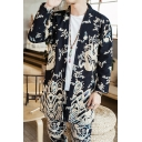 New Chinese Style Dragon Printed Shawl Collar Long Sleeves Casual Linen Cardigan Coat for Men