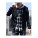 Mens Cool Letter Printed Slim Fit Black Trucker Jacket Denim Jacket