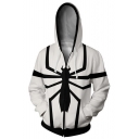 Cool 3D Print Long Sleeve Cosplay Costume Black and White Zip Up Hoodie
