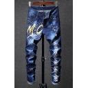 New Trendy Letter MC Spray Painting Print Slim Fit Dark Blue Jeans for Guys