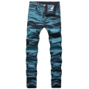 Mens New Stylish Cool Washed Skinny Fit Blue Jeans