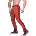 New Trendy Letter Pattern Colorblock Drawstring Waist Training Fitness Sweatpants for Men