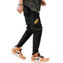 Mens Street Fashion Drawstring Waist Patched Velcro Gathered Cuff Casual Cargo Pants