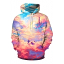 Stylish Comic 3D Colorful Landscape Printed Loose Sport Pullover Hoodie
