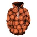 3D Basketball Allover Printed Unisex Loose Fit Brown Hoodie