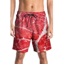 Unique 3D Pork Printed Summer Drawstring Waist Mens Red Beach Swim Trunks