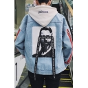 Hip Hop Fashion Letter Ribbon Figure Portrait Print Back Stripe Long Sleeve Casual Denim Jacket for Guys
