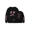 American Rapper Popular Sad Face Letter Pattern Long Sleeve Round Neck Loose Fit Sweatshirt
